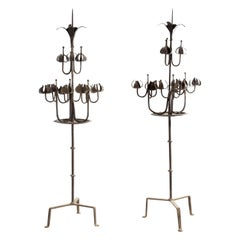 Pair of Tall Candelabra O Candelabrum, Neogothic Style, Wrought Iron, Spain