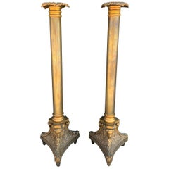 Pair of Tall Candle Holders in Bronze Signed A.K.