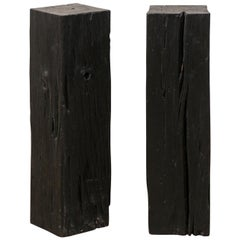 Pair of Tall Carbonized Wood Square Shaped Pedestals, Rich Black Color