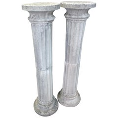 Pair of Tall Cast Stone Fluted Pedestals Columns