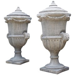 Pair of Tall Cast Stone Lidded Garden Vases from Belgium