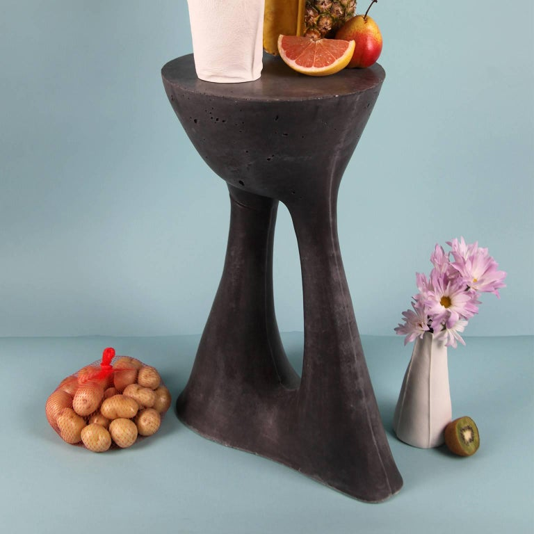 American Pair of Tall Charcoal Kreten Side Tables from Souda, Made to Order For Sale