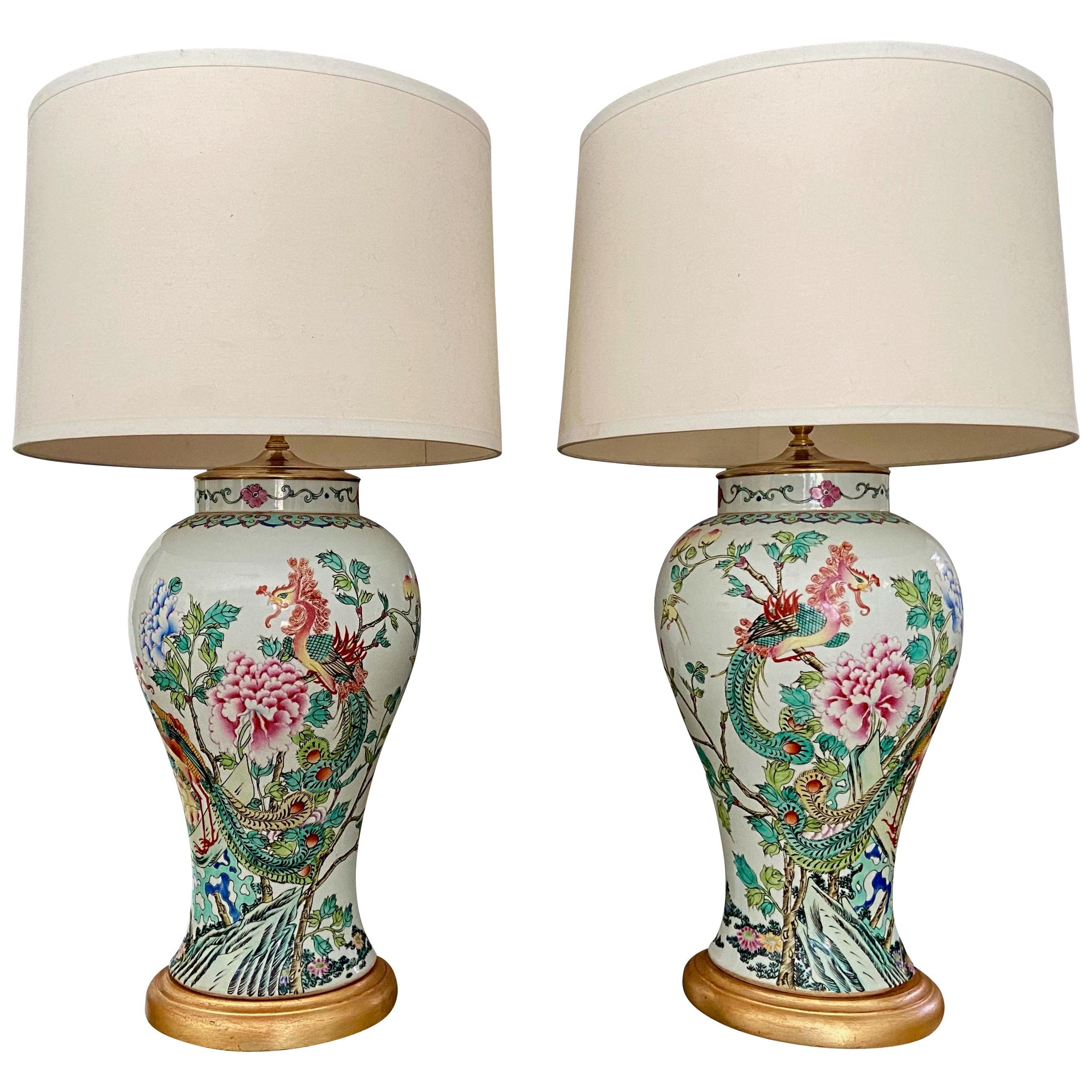 Pair of Tall Chinese Asian Famille Rose Peacock Porcelain Table Lamps