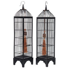 Pair of Tall Chinese Bird Cages, circa 1850