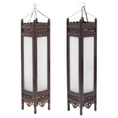 Pair of Tall Chinese Book Lanterns