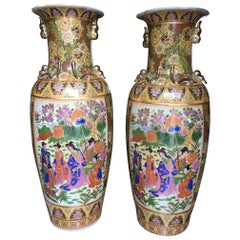 Pair of Tall Chinese Vases with Decorative Scenes, 20th Century