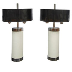 Pair of Tall Chrome and Off-White Faux Leather Mid-Century Modern Table Lamps