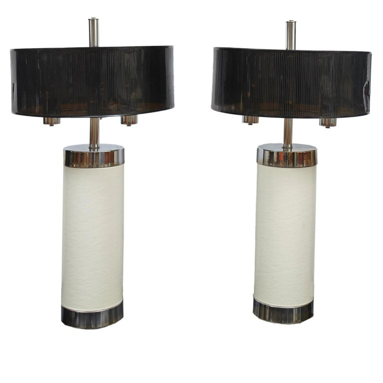 Pair Of Tall Chrome And Off White Faux Leather Mid Century Modern