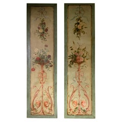 Pair of Tall Colorful Floral Oil Paintings on Canvas with Green and Rose Hues