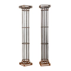 Pair of Tall Contemporary American Iron Architectural Columns