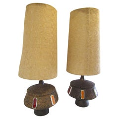 Pair of Tall Cork Lamps