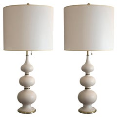 Pair of Tall Cream Lamps by Gerald Thurston