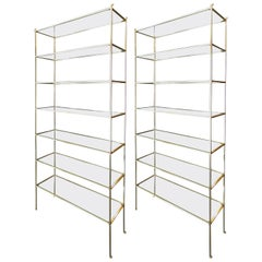 Pair of Tall Custom Brass Étagères with Glass Shelves by Adesso Imports