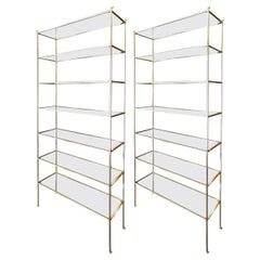 Pair of Tall Custom Brass Etageres with Glass Shelves by Adesso Imports