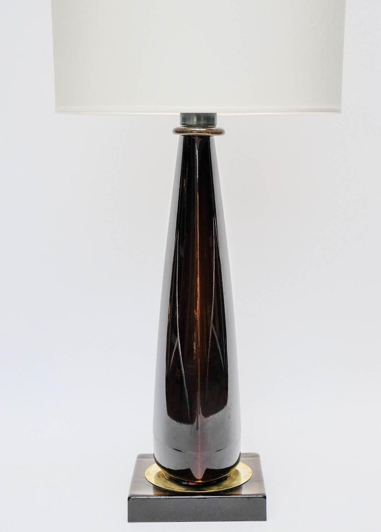 Mid-Century Modern Pair of Tall Dark Purple Murano Glass Table Lamps For Sale