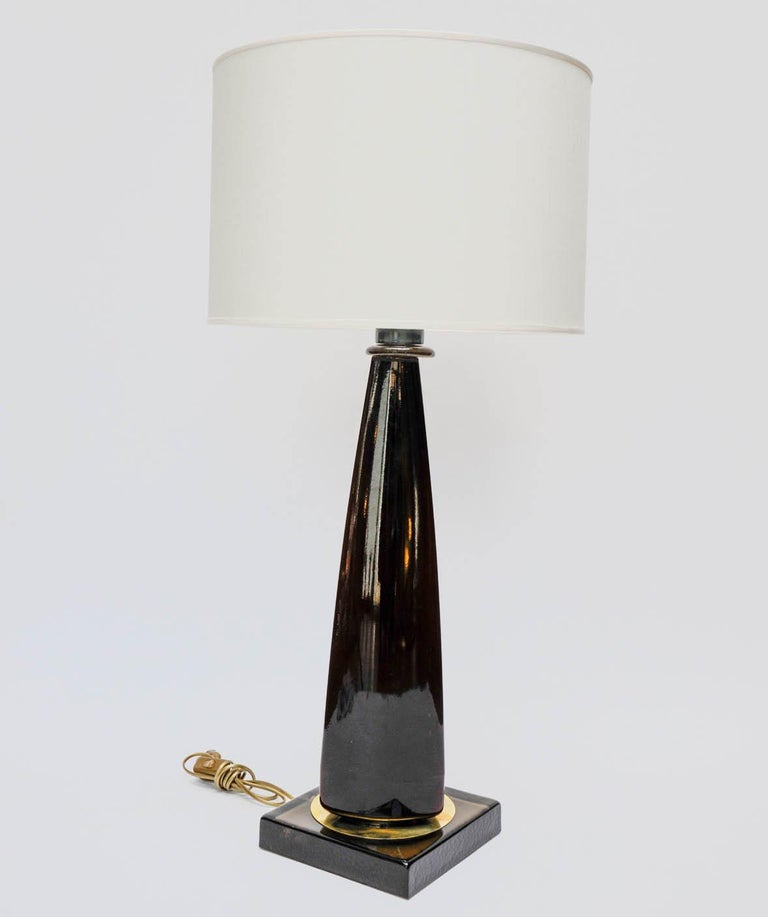 Late 20th Century Pair of Tall Dark Purple Murano Glass Table Lamps For Sale