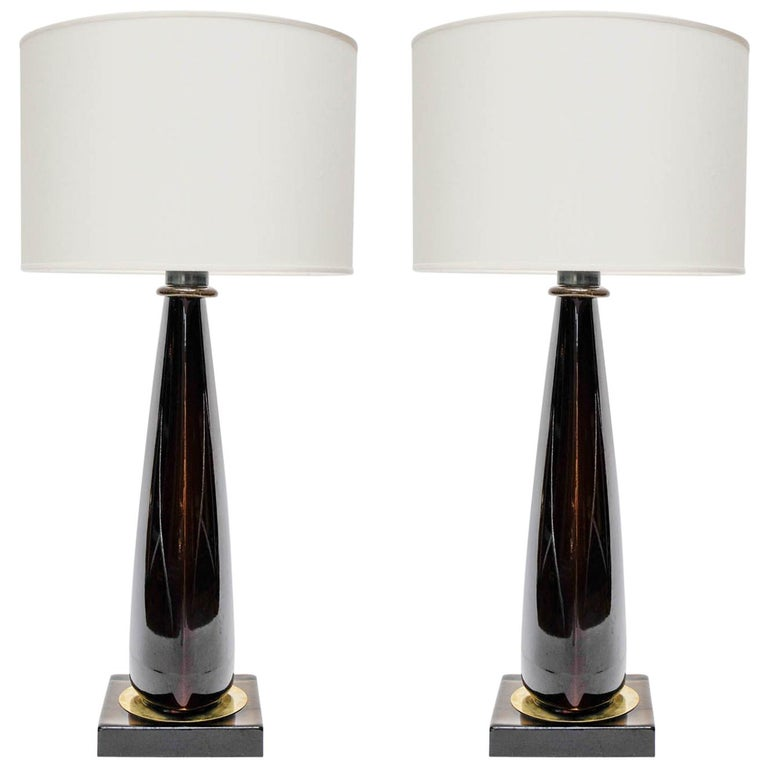 Pair of Tall Dark Purple Murano Glass Table Lamps For Sale