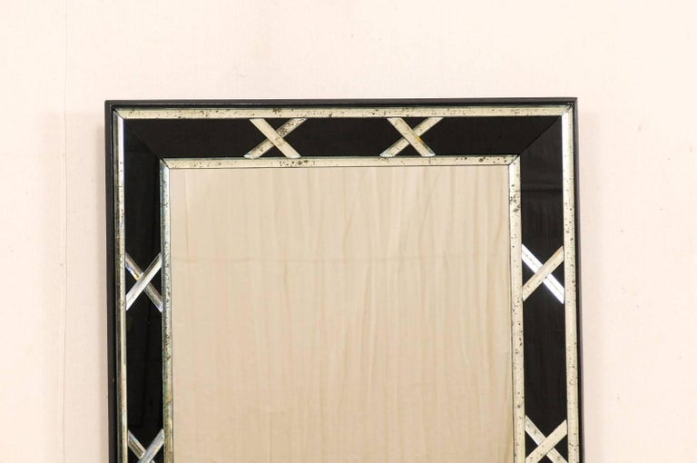 Pair Of Tall Silver And Black X Pattern Vintage Mirrors For Sale At 1stdibs
