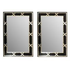 Pair of Tall Silver and Black X-Pattern Vintage Mirrors