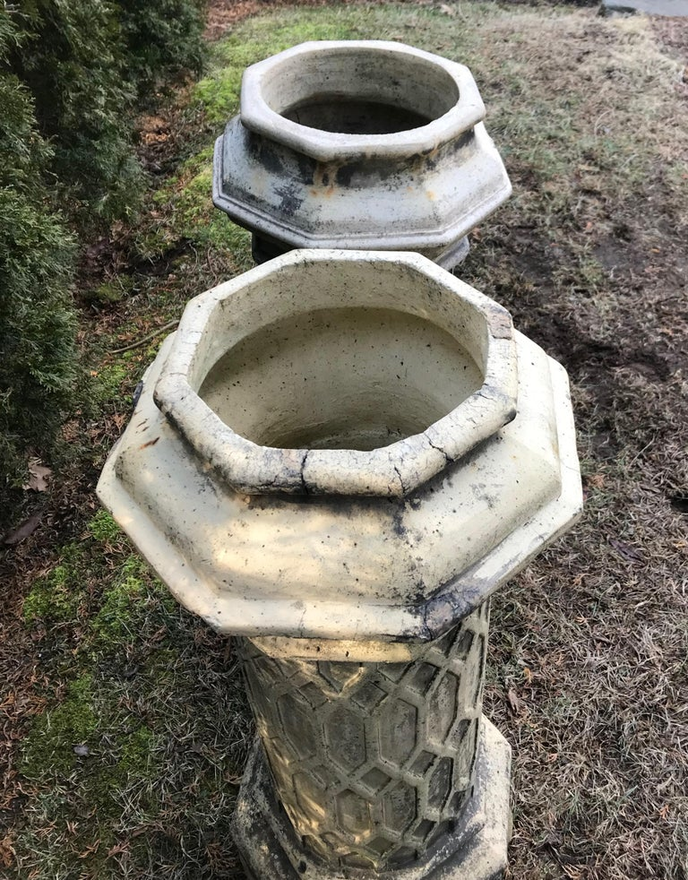 Victorian Pair of Tall English 19th Century Decorative Biscuit Terracotta Chimney Pots For Sale