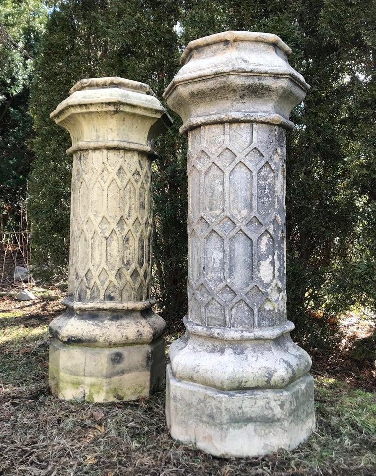 Hand-Crafted Pair of Tall English 19th Century Decorative Biscuit Terracotta Chimney Pots For Sale