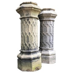 Pair of Tall English 19th Century Decorative Biscuit Terracotta Chimney Pots