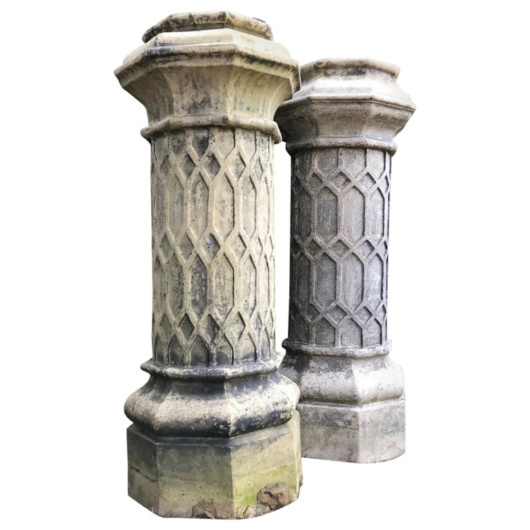 Pair of Tall English 19th Century Decorative Biscuit Terracotta Chimney Pots For Sale