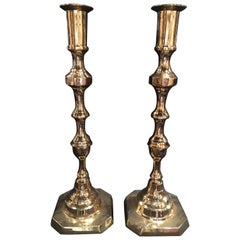 Pair of Tall English Polished Brass Candlesticks, 19th Century