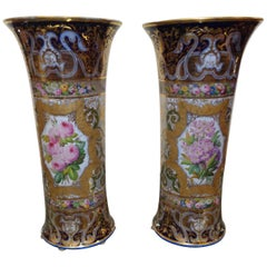 Pair of Tall French 19th Century Double Sided Paris Porcelain Vases by Bayeux