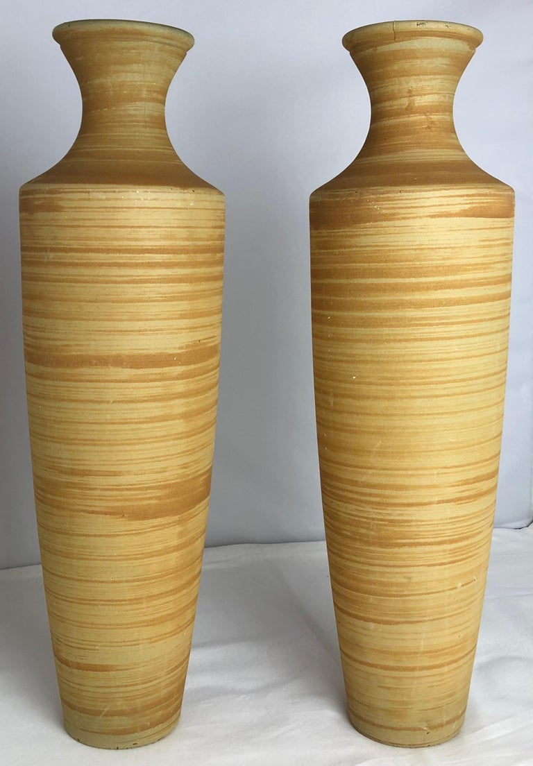 Pair of tall French midcentury cut-glass vases.  Measures: 18