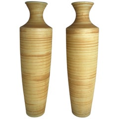 Pair of Tall French Midcentury Art Glass Vases