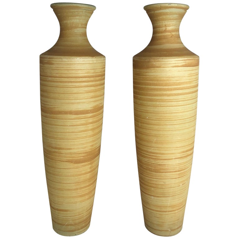 Pair of Tall French Midcentury Art Glass Vases For Sale