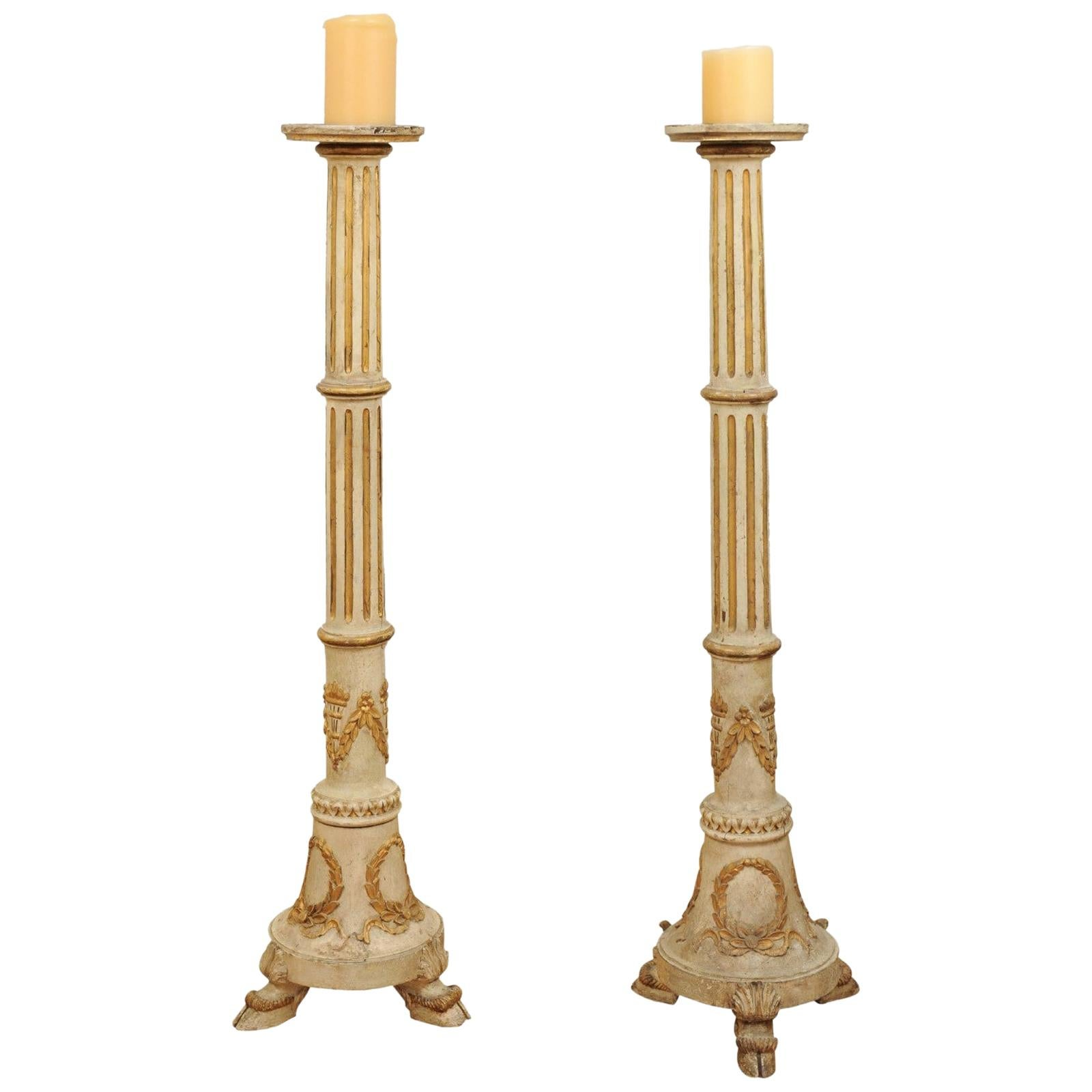 Pair of Tall French Napoléon III 1860s Candlesticks with Carved Gilt Motifs