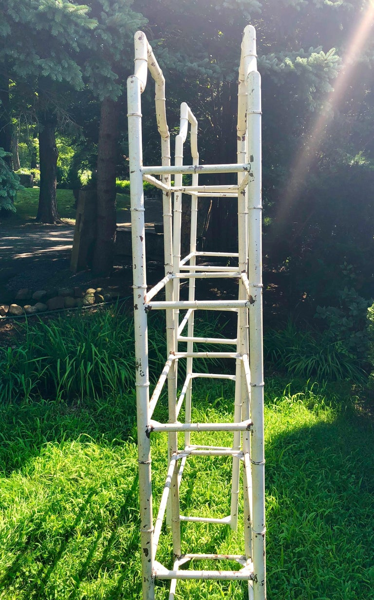 Pair of Tall French Painted Steel Faux-Bamboo Étagères For Sale 2
