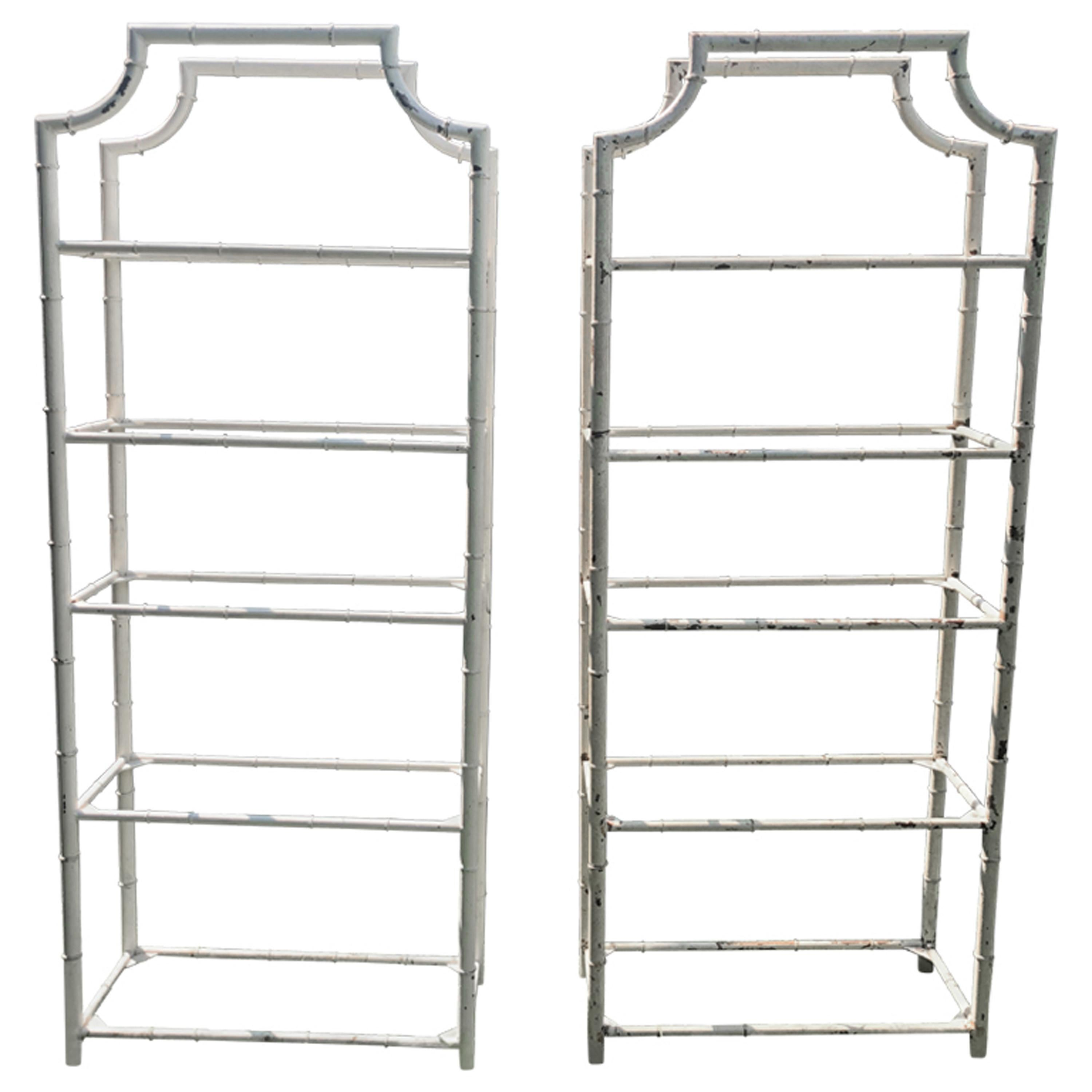 Pair of Tall French Painted Steel Faux-Bamboo Étagères