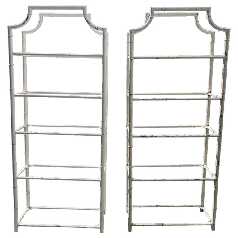 Pair of Tall French Painted Steel Faux-Bamboo Étagères For Sale