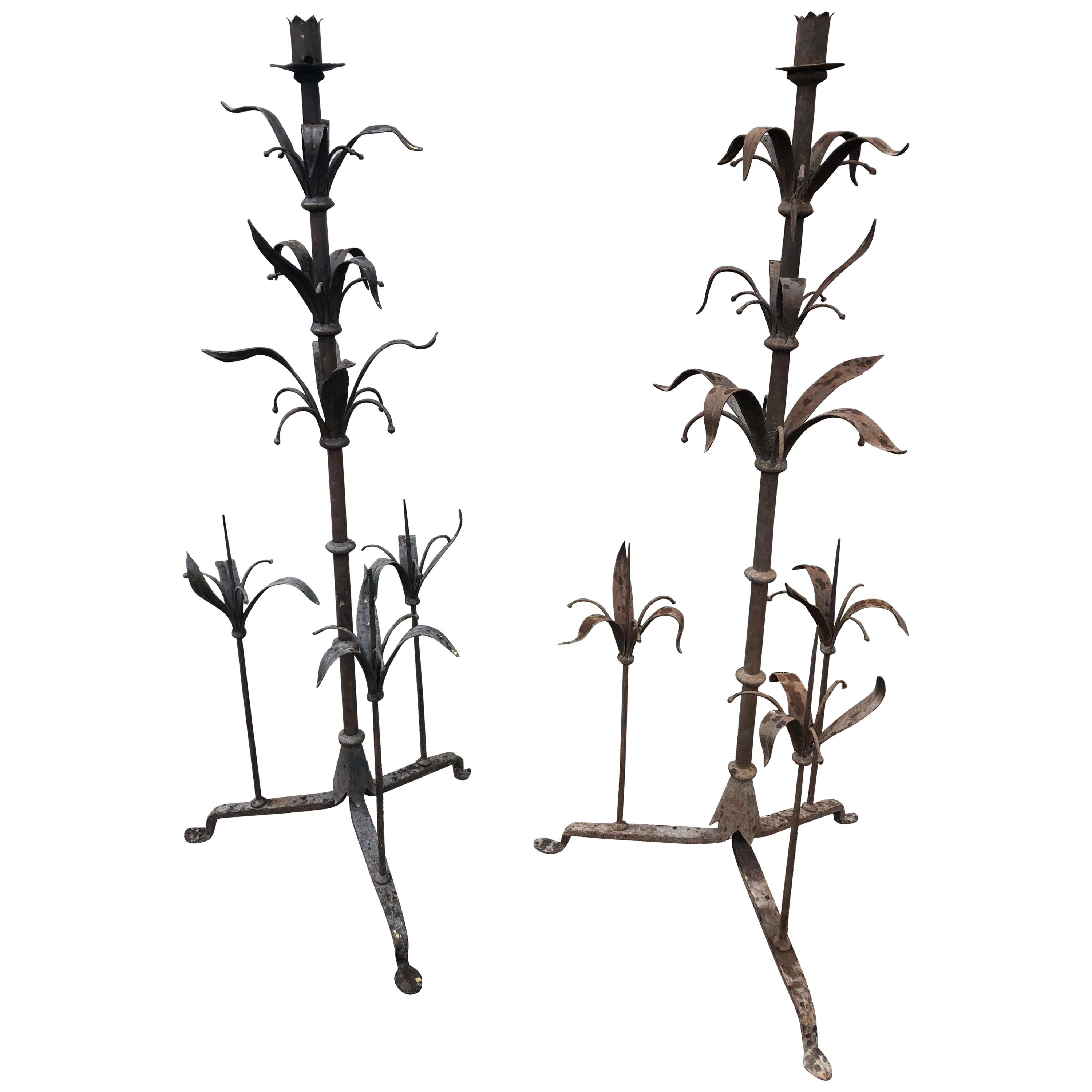 Pair of Tall French Wrought Iron Candelabra with Leaf Motif