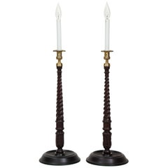 Pair of Tall Georgian Style Candlestick Lamps