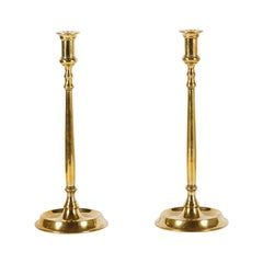 Pair of Tall Georgian Style or Early Victorian Brass Candlesticks