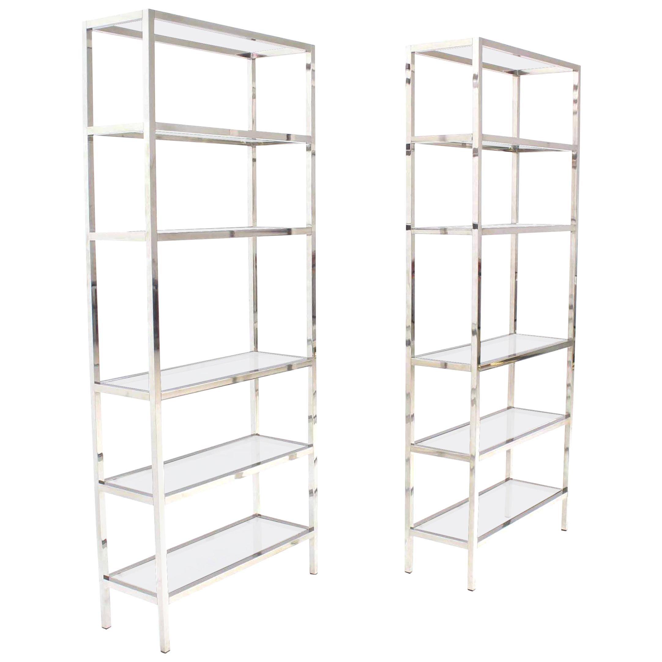 Pair of Tall Glass 6 Tier Shelves Chrome Étagerés