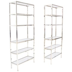 Pair of Tall Glass 6 Tier Shelves Chrome Étagerés