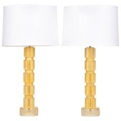 Murano Gold Glass Lamps Pair
