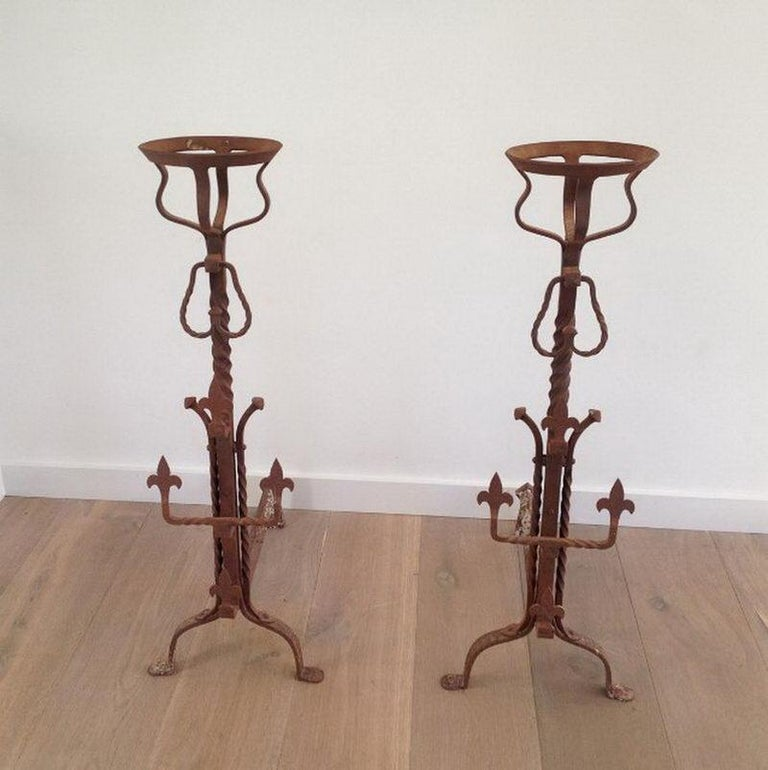 Pair of Tall Gothic Style Wrought Iron Andirons, French, circa 1900  For Sale 4