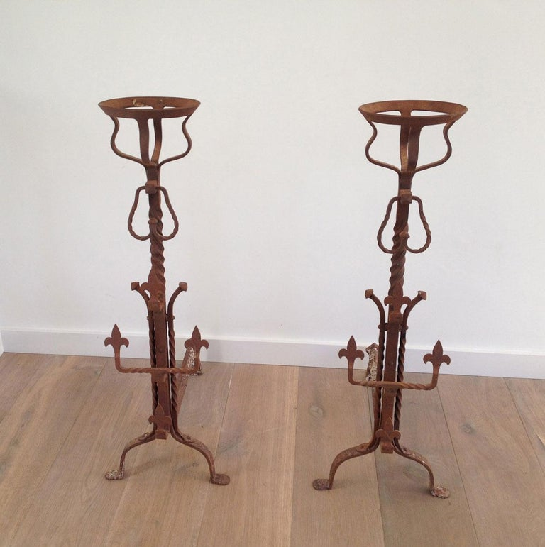 Pair of Tall Gothic Style Wrought Iron Andirons, French, circa 1900  For Sale 5