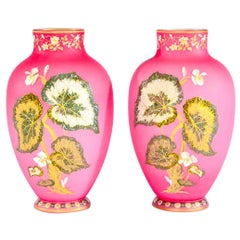 Pair of Tall Hand Blown Cased Pink Vases with Raised Leaves Aesthetic Movement