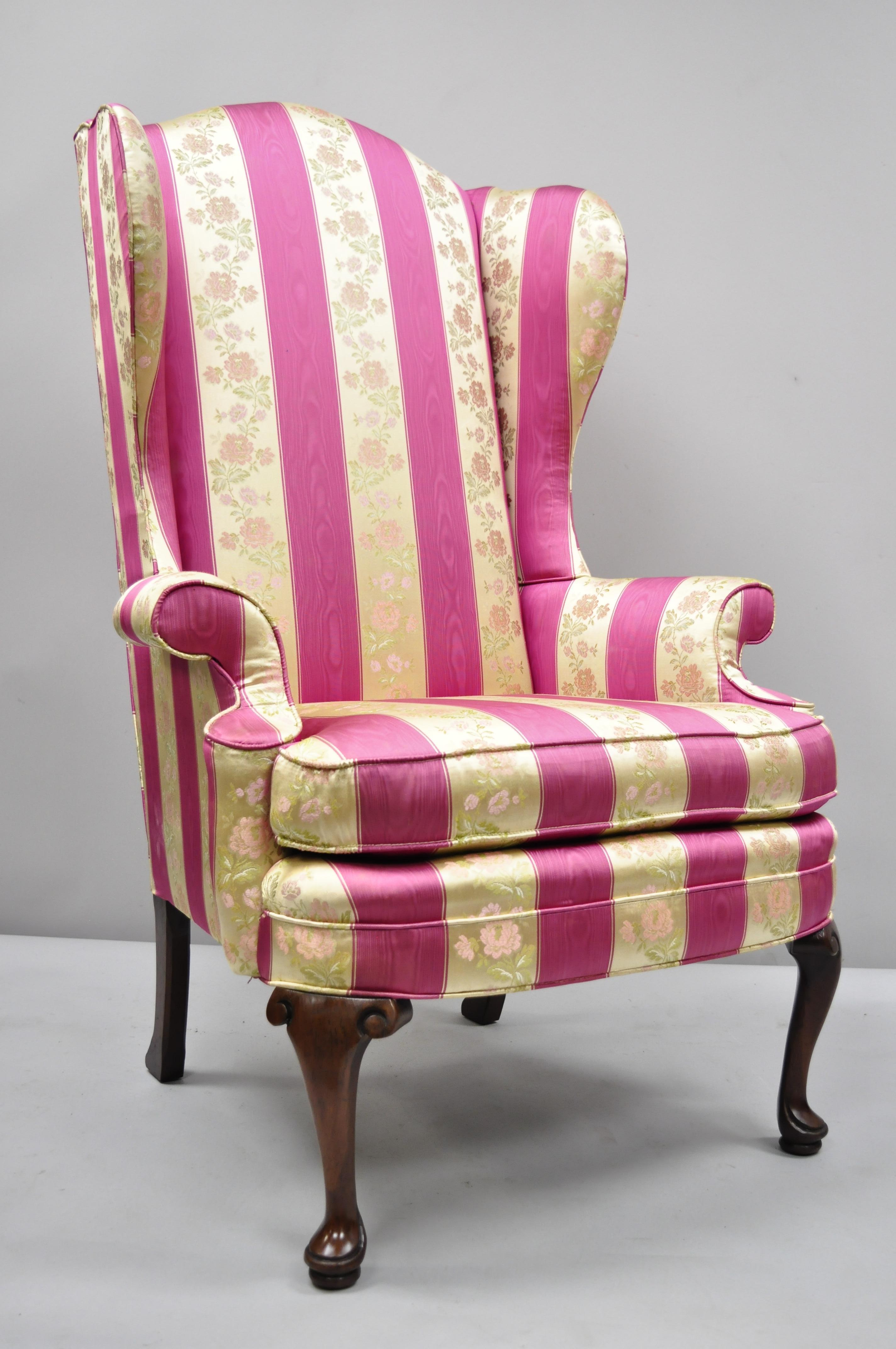 American Pair Of Tall High Back Pink Gold Queen Anne Wingback Arm Chairs By  Statesville For