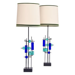 Pair of Tall Mid-Century Iron and Glass Table Lamps by Svend Aage Holm Sorensen