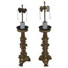 Pair of Tall Italian Giltwood Rococo Prickets Table lamps