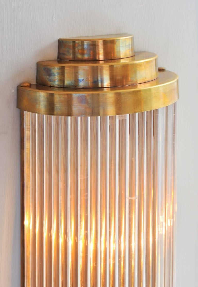 Art Deco Pair of Tall Italian Ravello Wall Lights with 3 tier detail For Sale