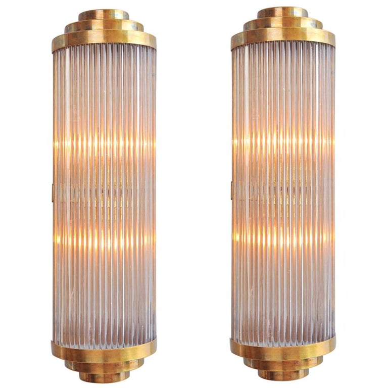 Pair of Tall Italian Ravello Wall Lights with 3 tier detail For Sale